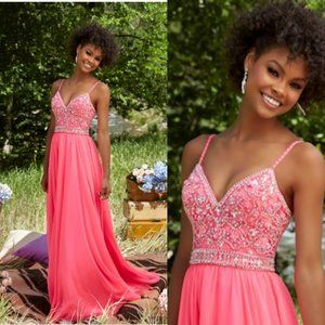 NWT Morilee Pink Sequins Chiffon Flowy Gown 12 L
